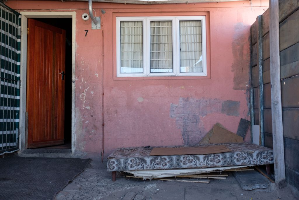"The mattress on which Petrus ""Pietman"" Miggels was sitting before he stood up, collapsed and died at his home. (Photo: Barry Christianson / New Frame)"